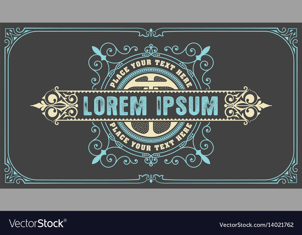 Art-deco badge with floral frame vector image