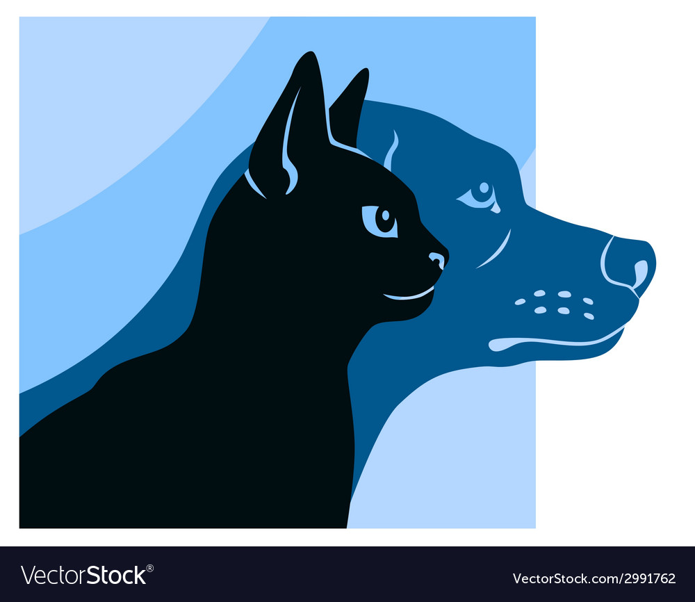 Cat and dog silhouettes square
