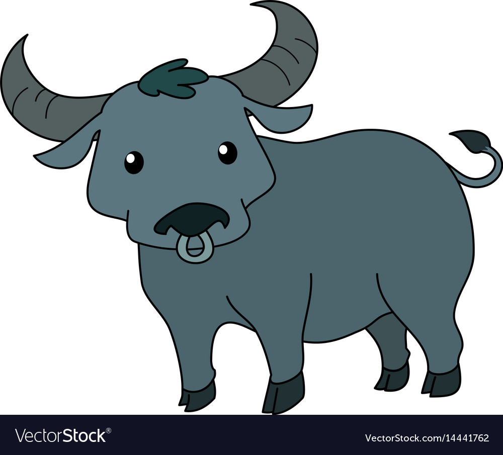 Cute thai buffalo standing on white background