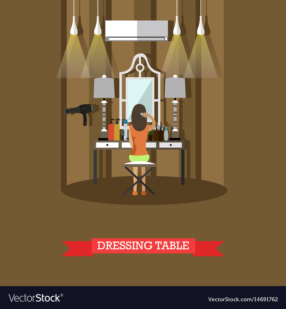 Dressing table in flat style vector image