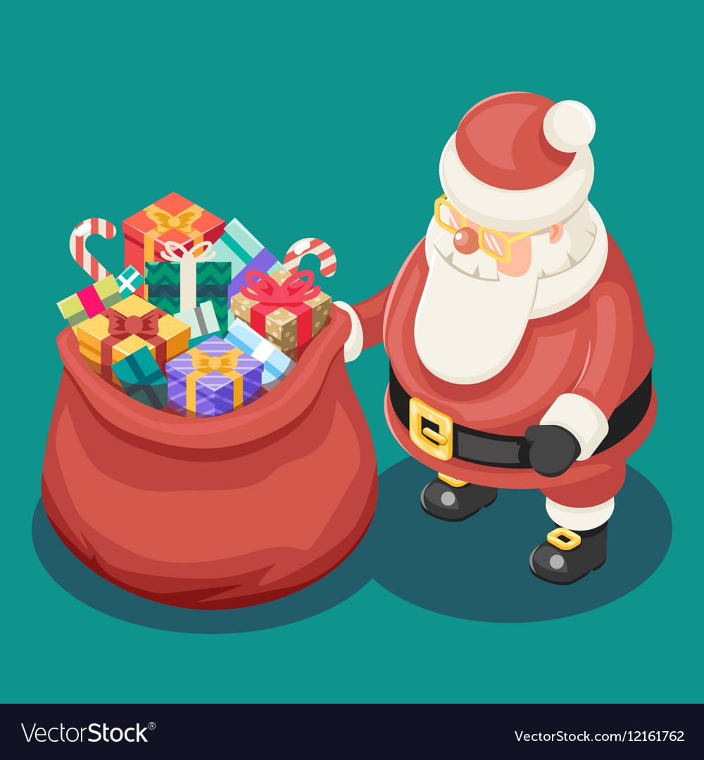 Gifts Bag Cute Isometric 3d Christmas Santa Claus