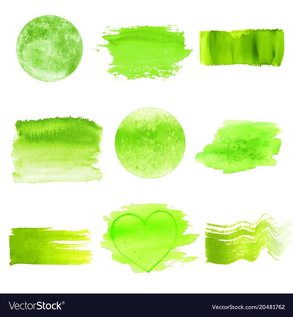 Green Watercolor Logo Design Template Spots Set