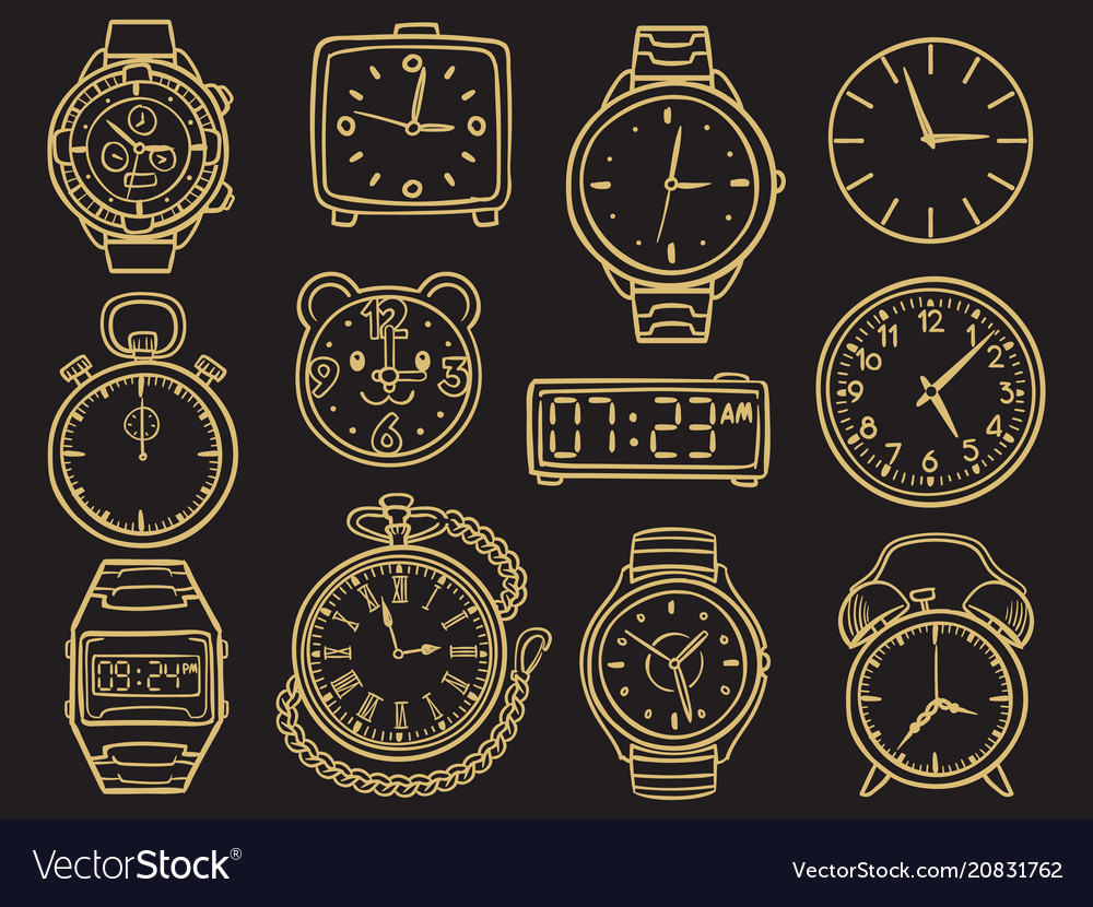 Hand drawn wristwatch doodle sketch watches