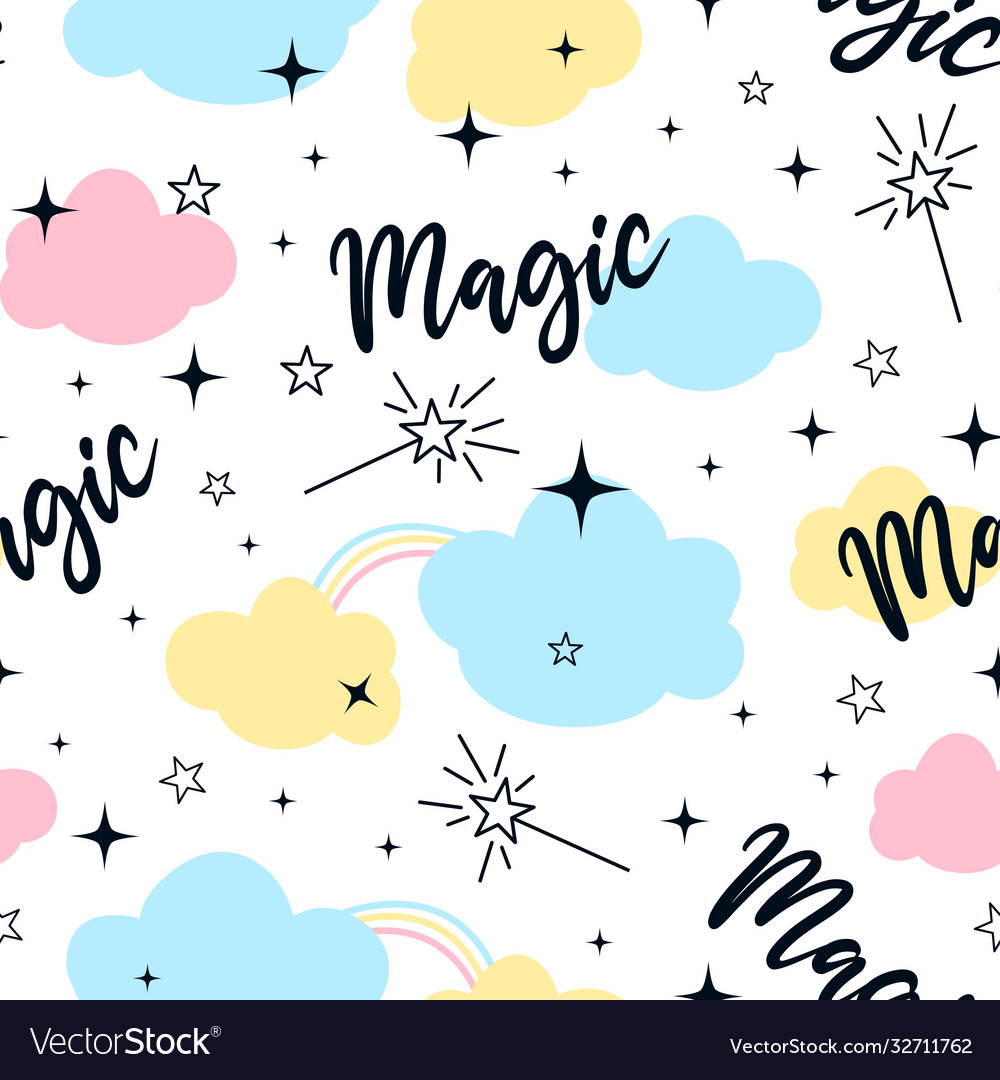 Magical icons print design with a slogan seamless