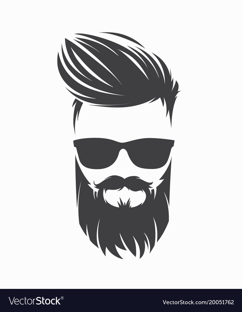 Mens Hairstyle With Beard Mustache Royalty Free Vector Image