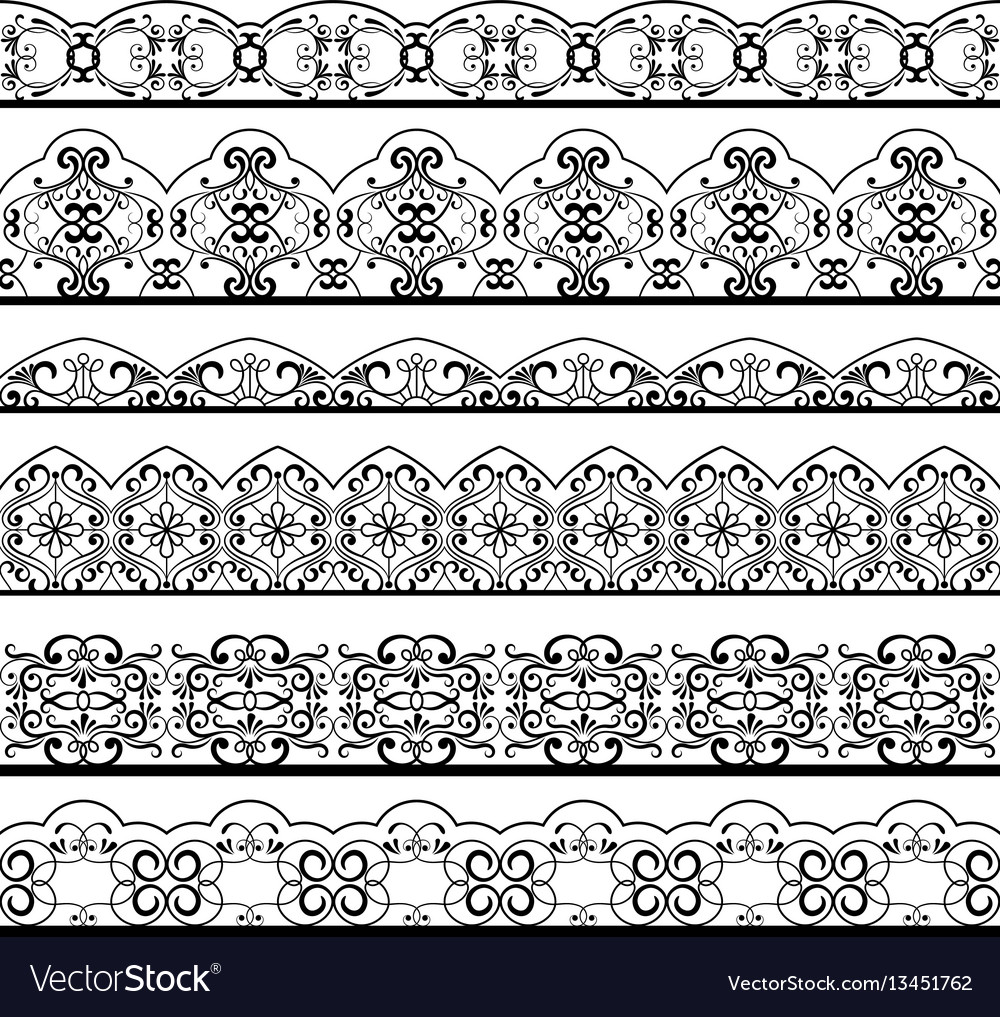 Ornate vintage line border set isolated on white
