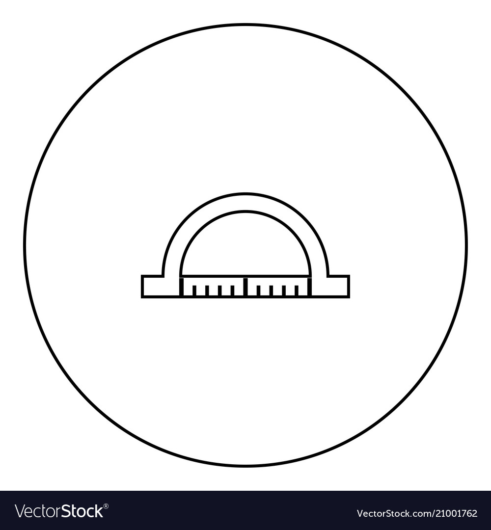 Protractor black icon in circle outline