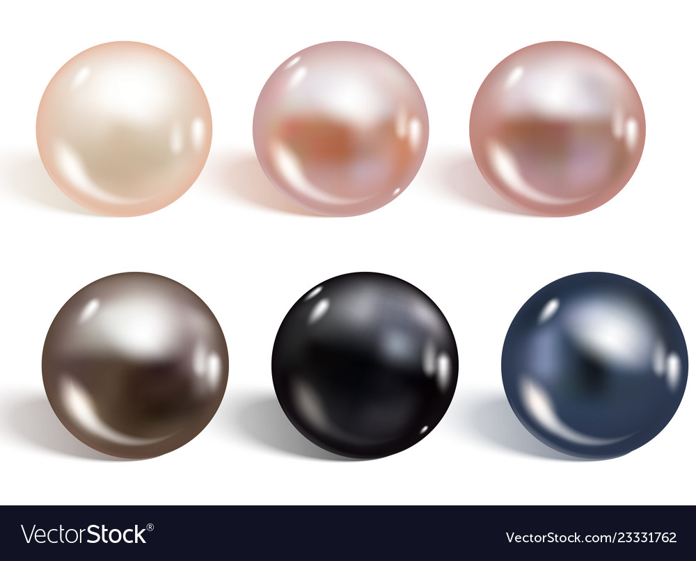 Realistic different colors pearls set round