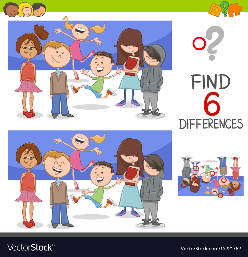 Spot The Differences With Children Royalty Free Vector Image
