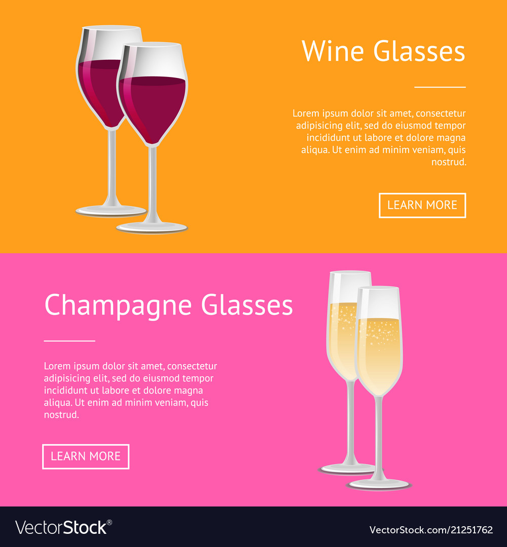 Wine and champagne glasses set of web posters