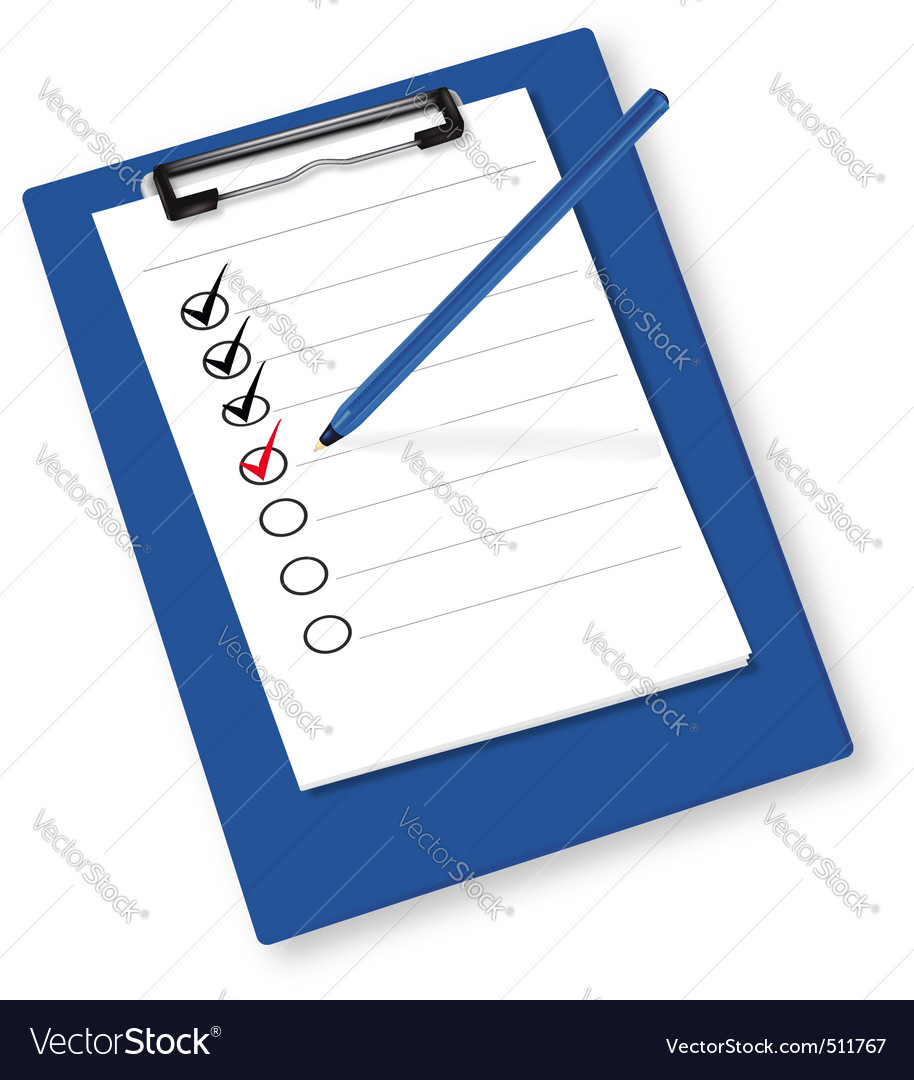 Clipboard with checkboxes ve
