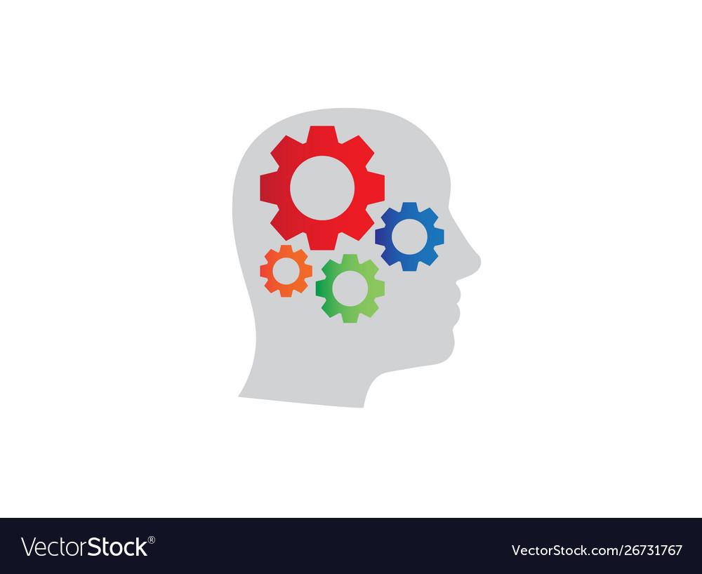 Gears inside head logo design icon