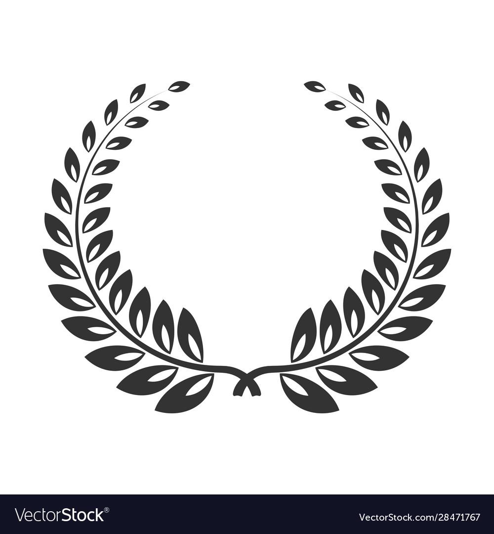 Laurel wreath line art icon victory branch or