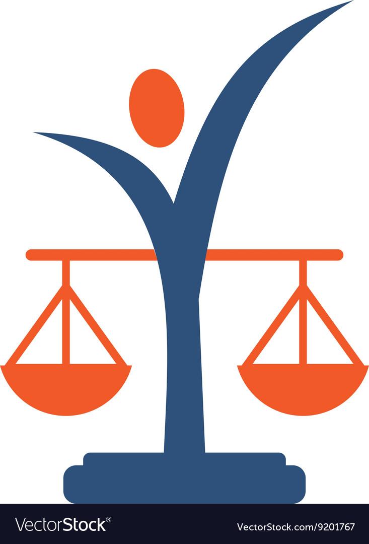 Law balance symbol justice scales icon on stylish