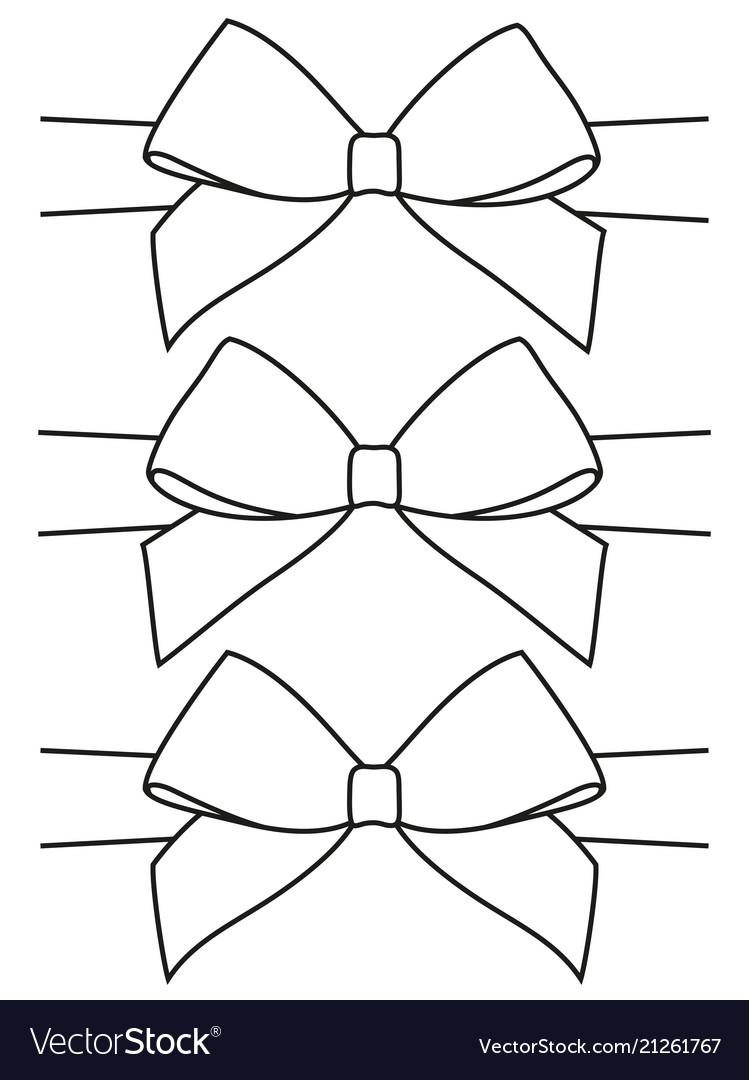 Line art black and white bow set