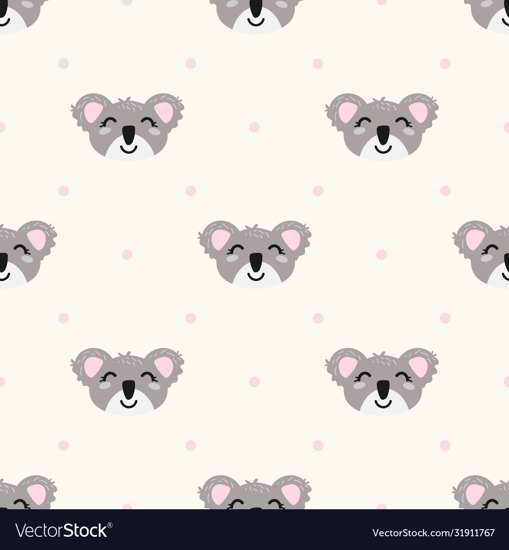 Seamless pattern with cute koalas and polka