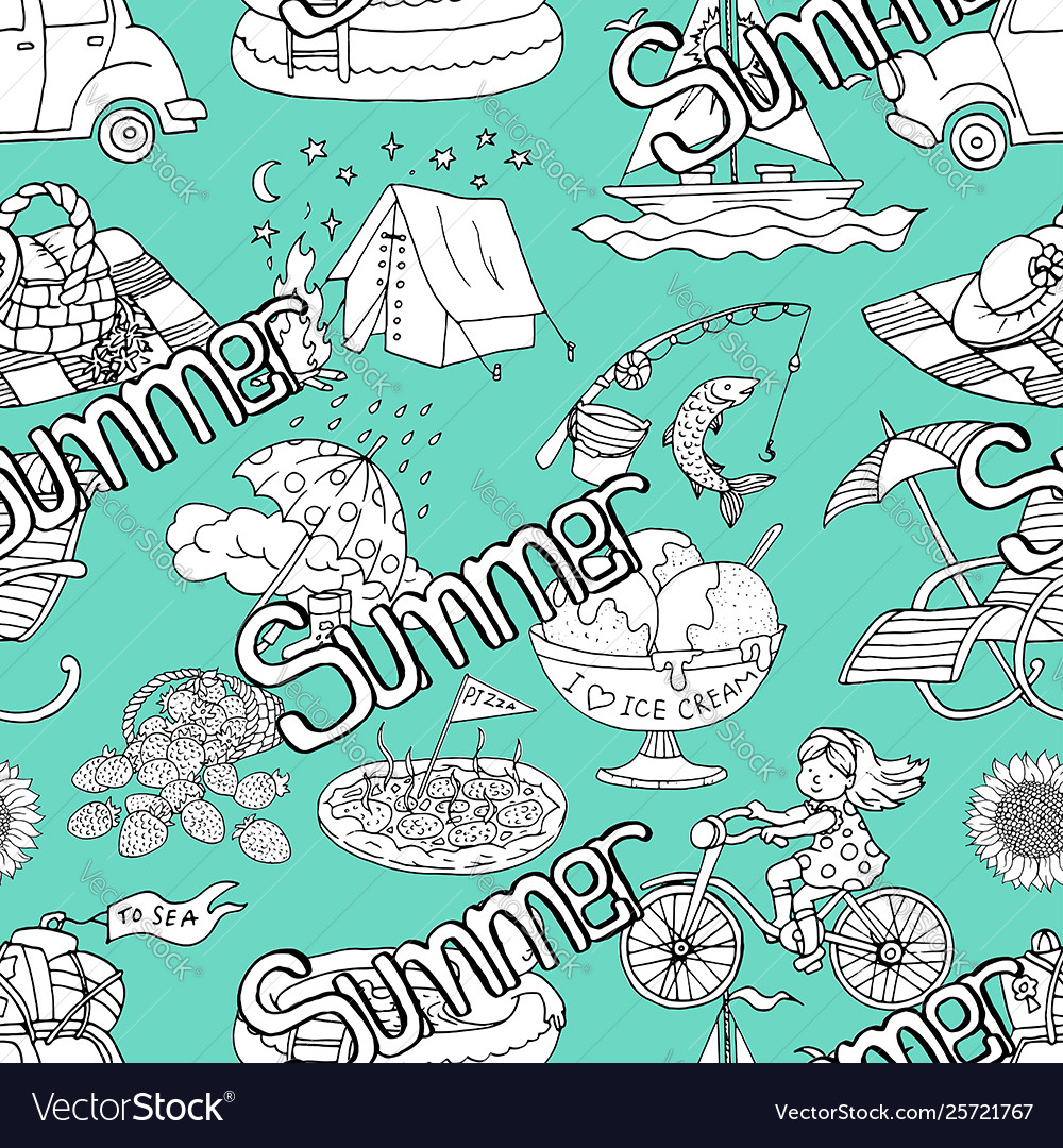 Seamless pattern with summer concept