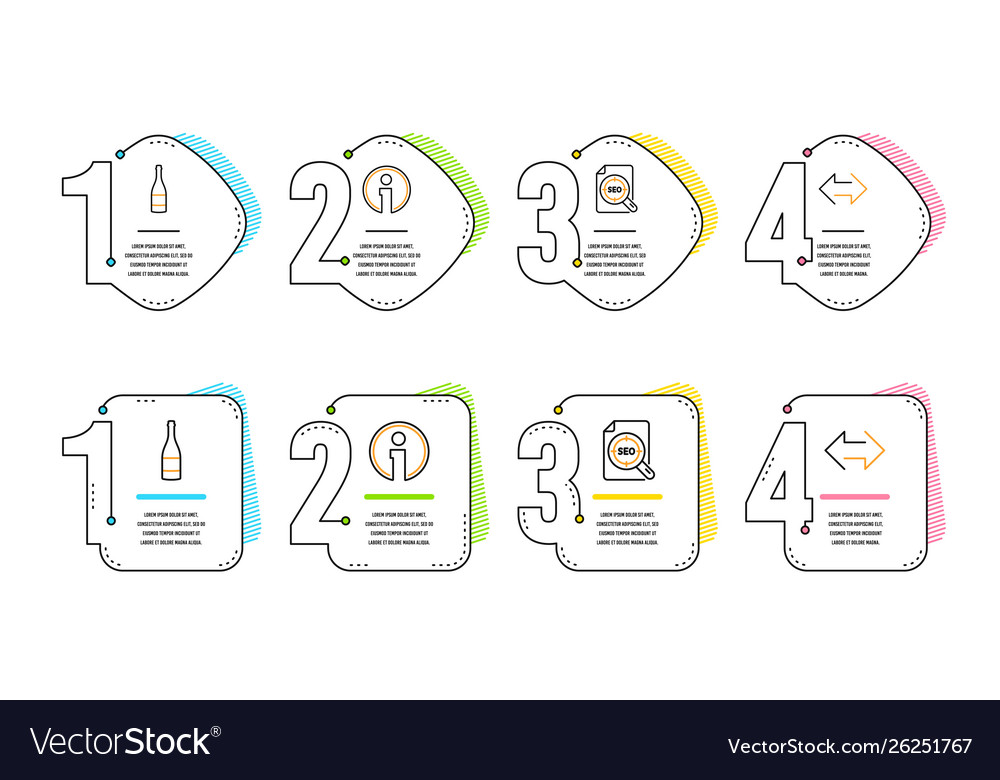 Seo file champagne bottle and info icons set