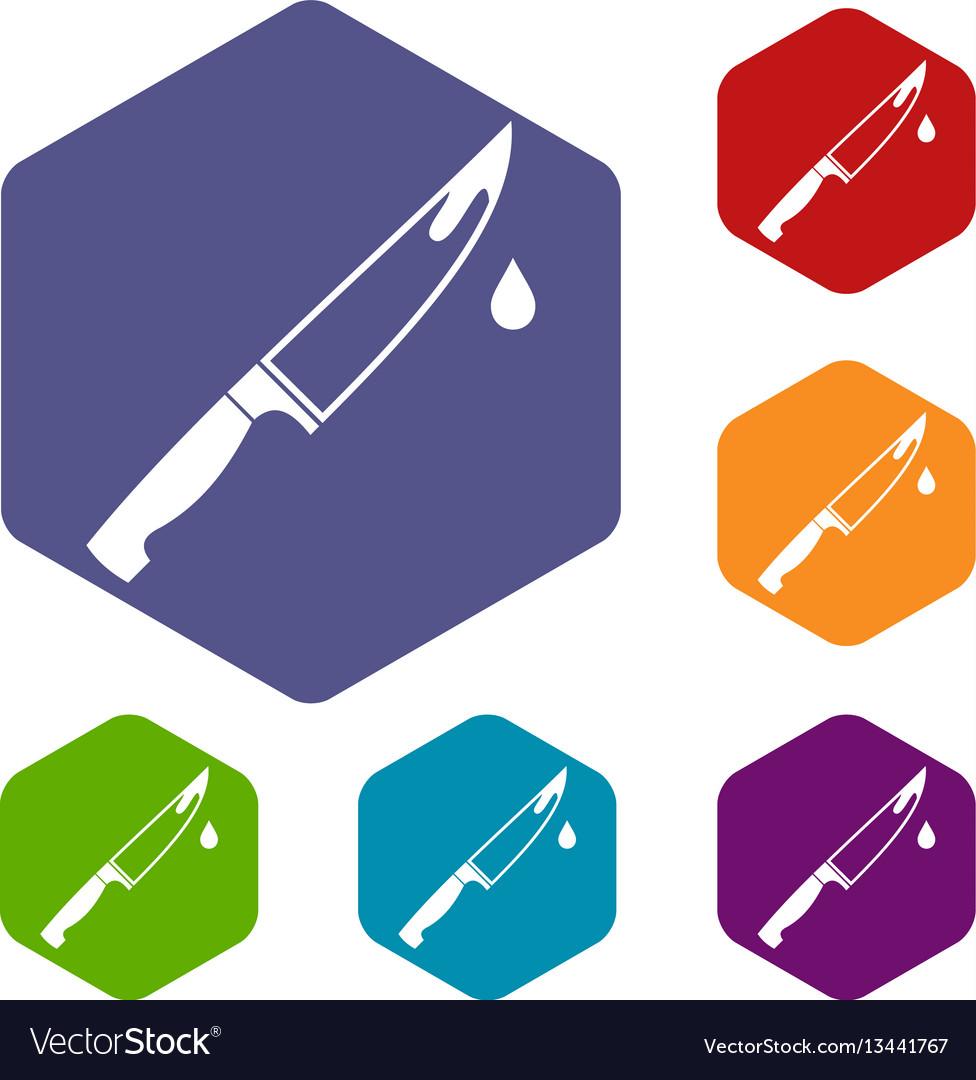 Steel knife icons set