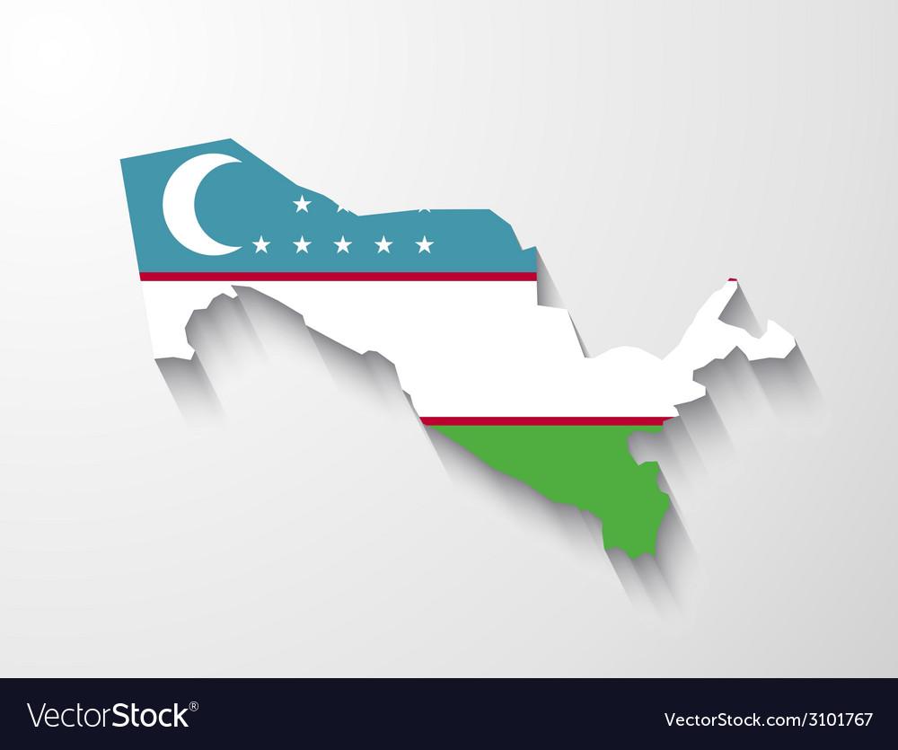 Uzbekistan map with shadow effect