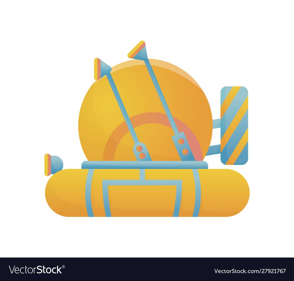 Yellow and blue submarine undersea cartoon style