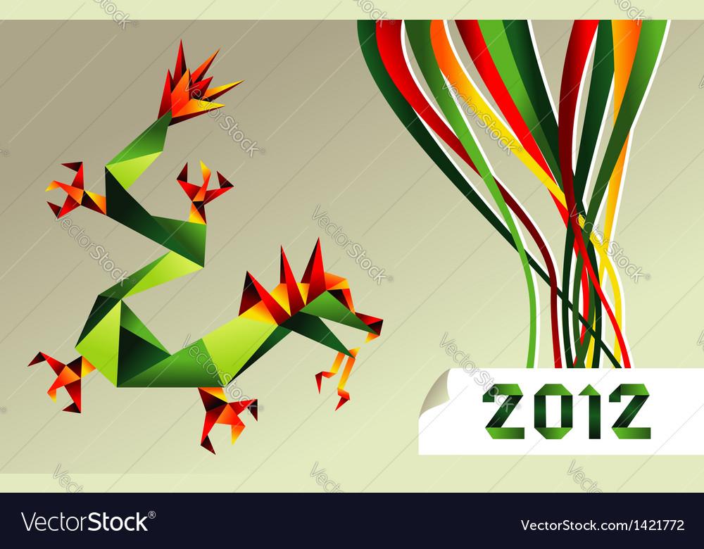 2012 Chinese Calendar Origami Dragon Royalty Free Vector