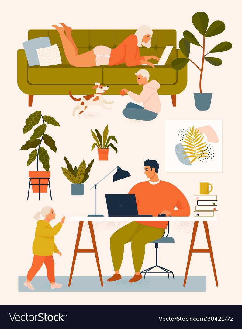 A woman on couch a man at desk working at