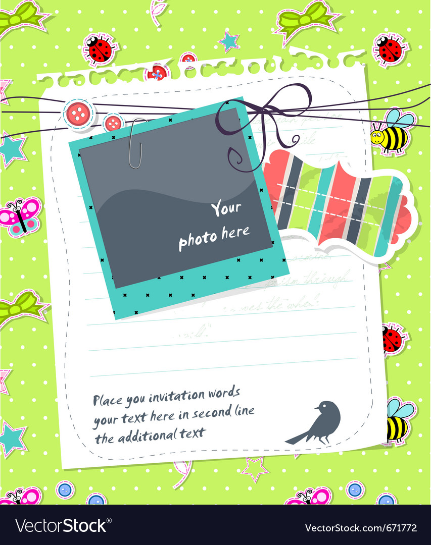 Baby scrapbook card with photo frame