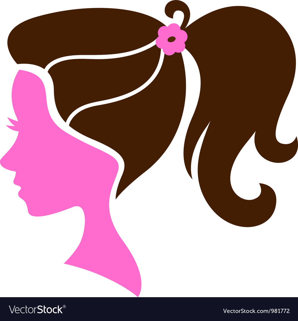 Beautiful female hairstyle silhouette vector image