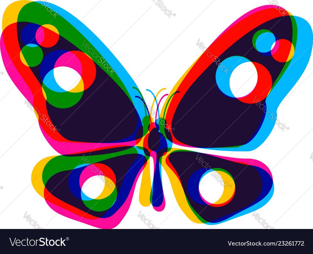 Butterfly in cmyk style