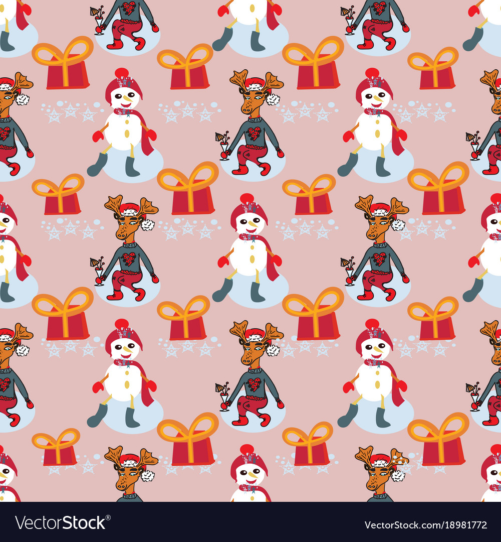Christmas characters new year pattern with