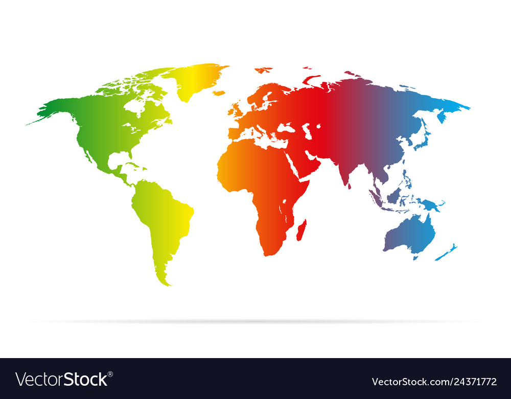 Color earth map with shadow colorful Royalty Free Vector