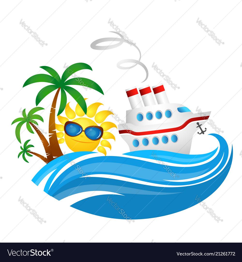 Cruise ship on wave and sun