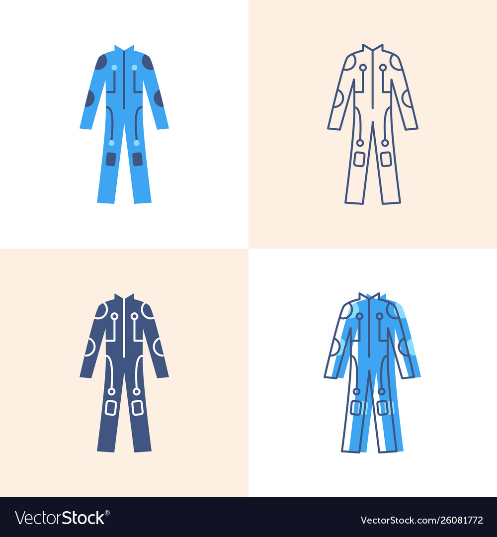 Cybersuit icon set in flat and line style