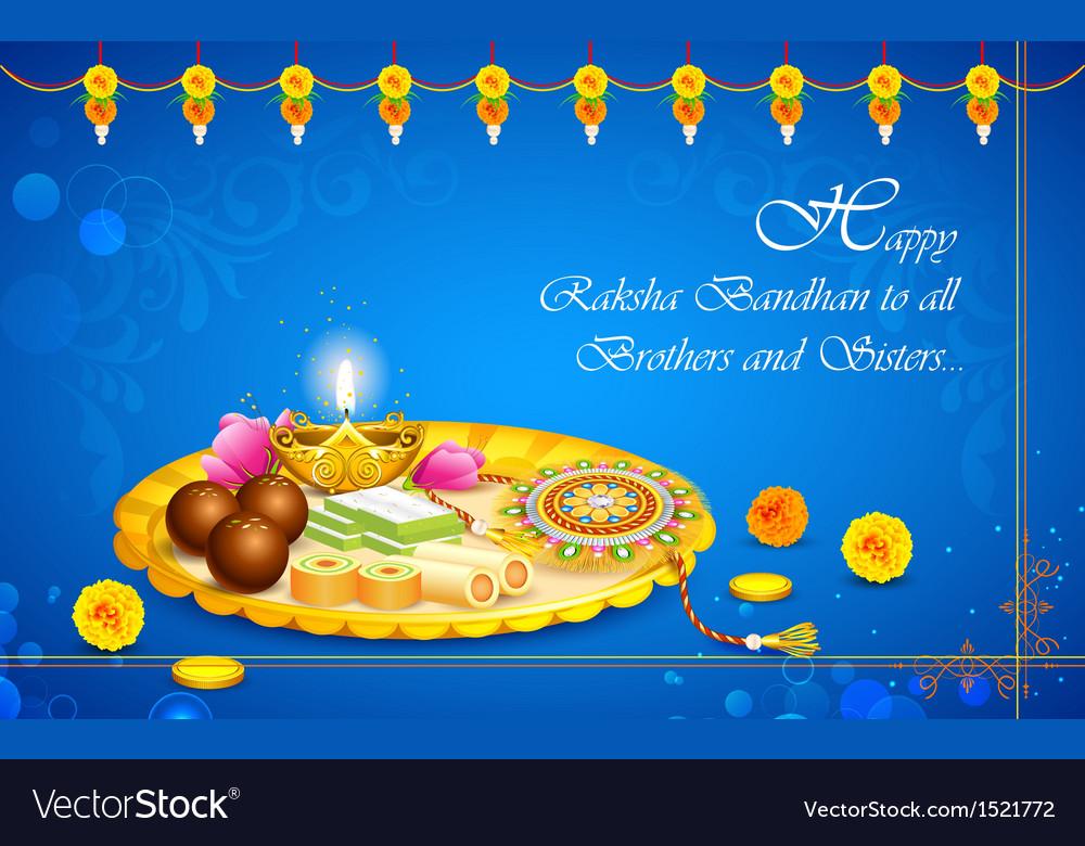 Decorated thali with Rakhi for Raksha Bandhan