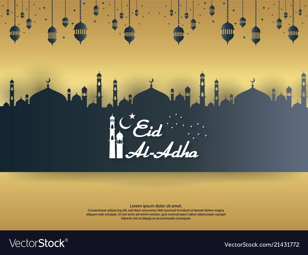 Eid al adha mubarak islamic greeting card design vector image m4hsunfo