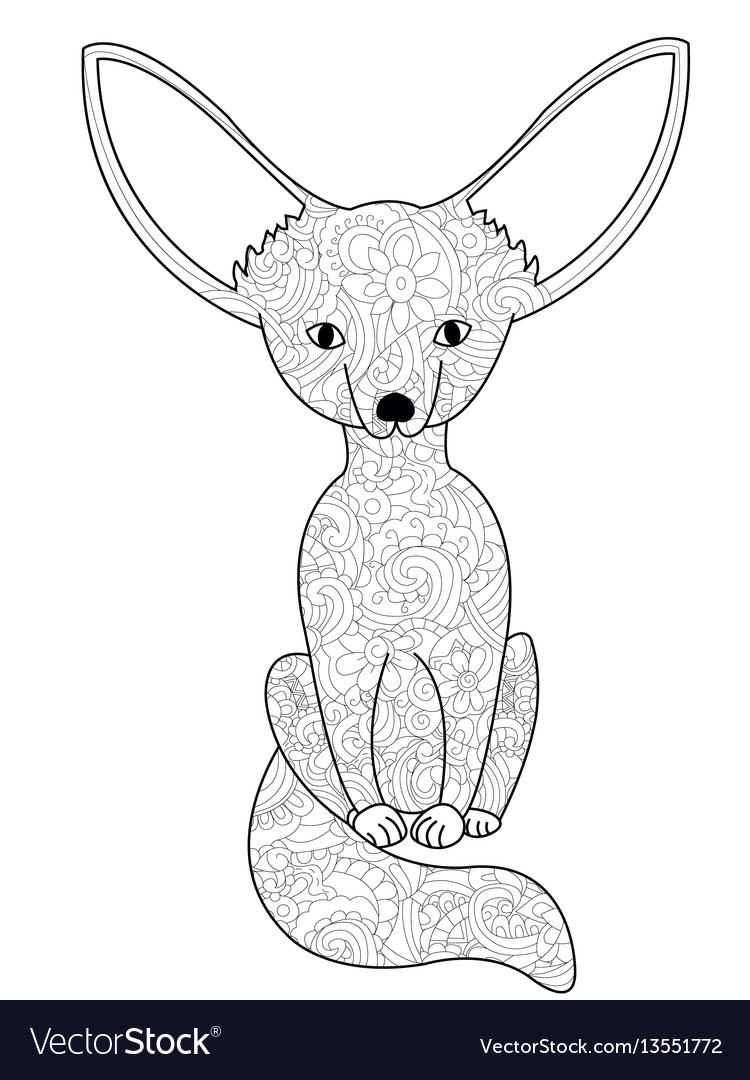 Fennec fox coloring book for adults Royalty Free Vector