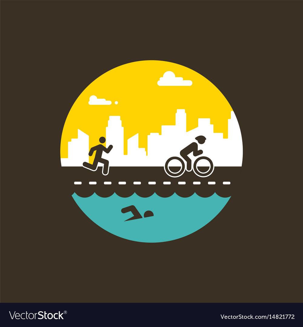 For triathlon poster flat vector image