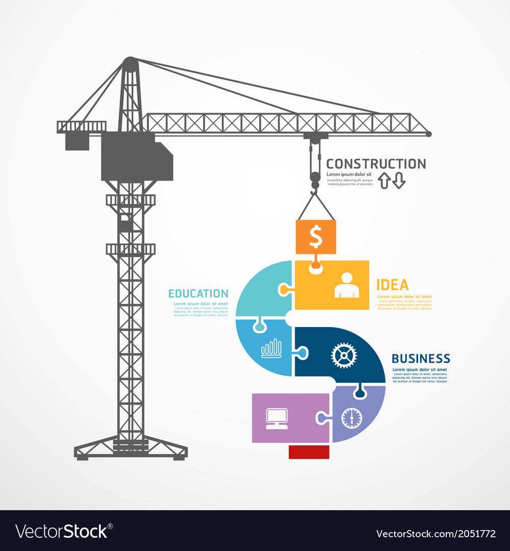 infographic template with construction tower crane