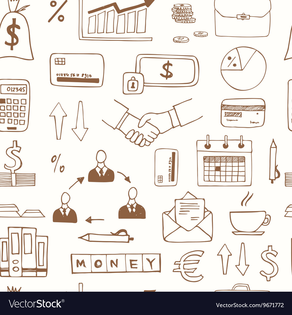 Seamless pattern with doodle sketch business icons