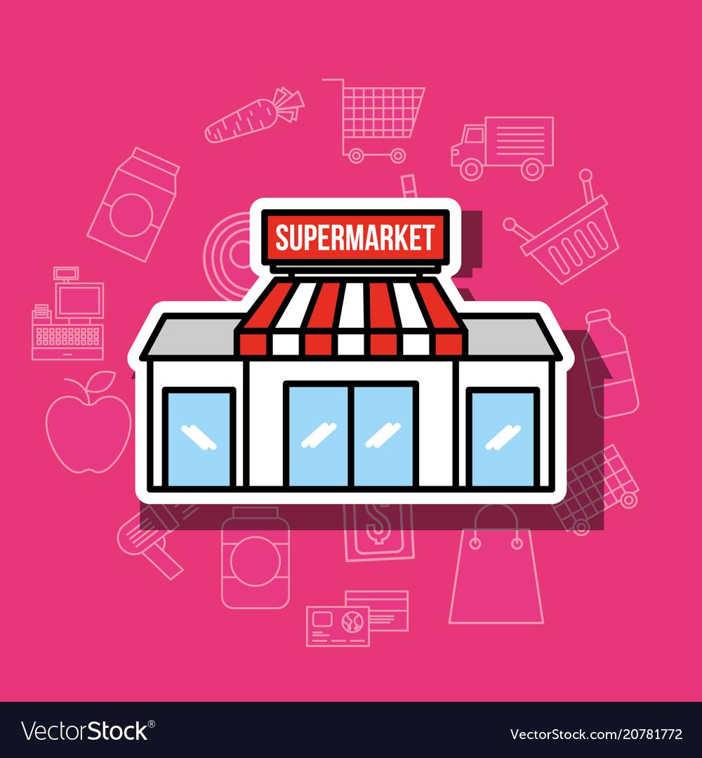 Supermarket facade retail building business vector image