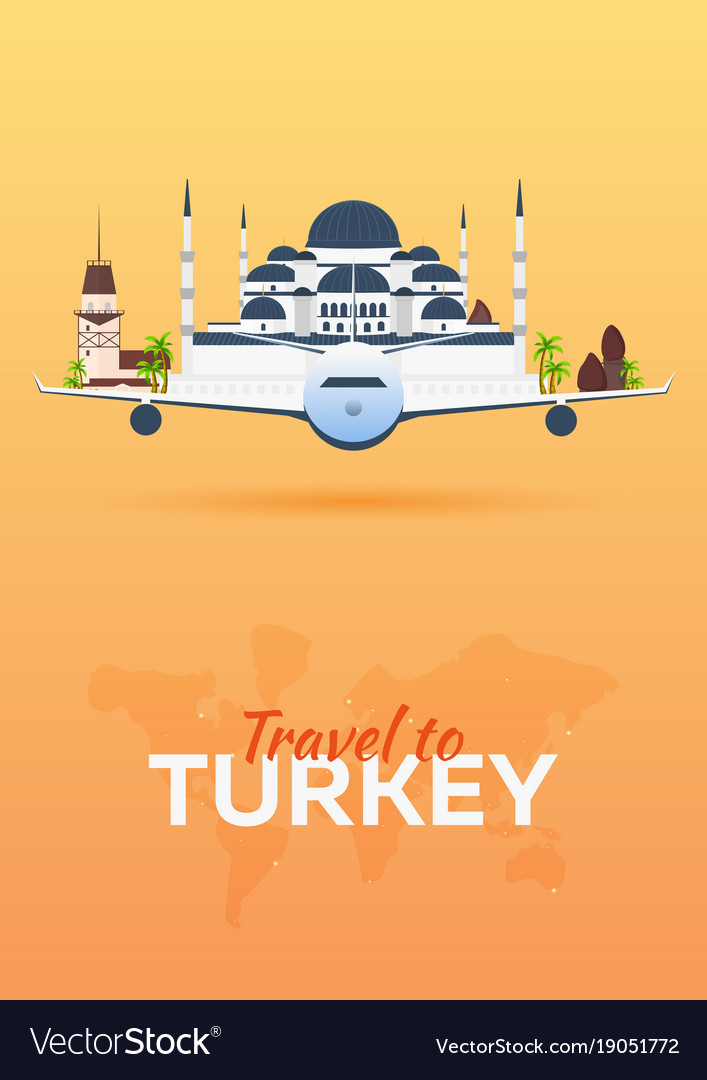 Travel to turkey airplane with attractions vector image