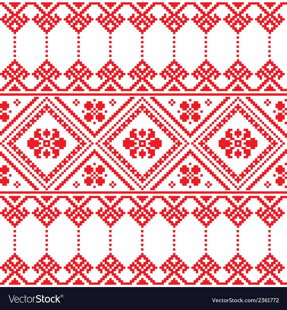 Ukrainian Folk Art Floral Embroidery Pattern Vector Image