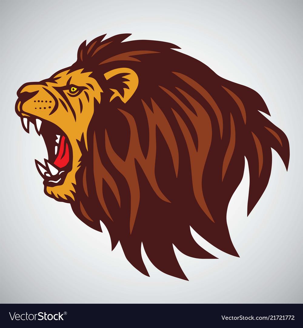 Wild angry lion head