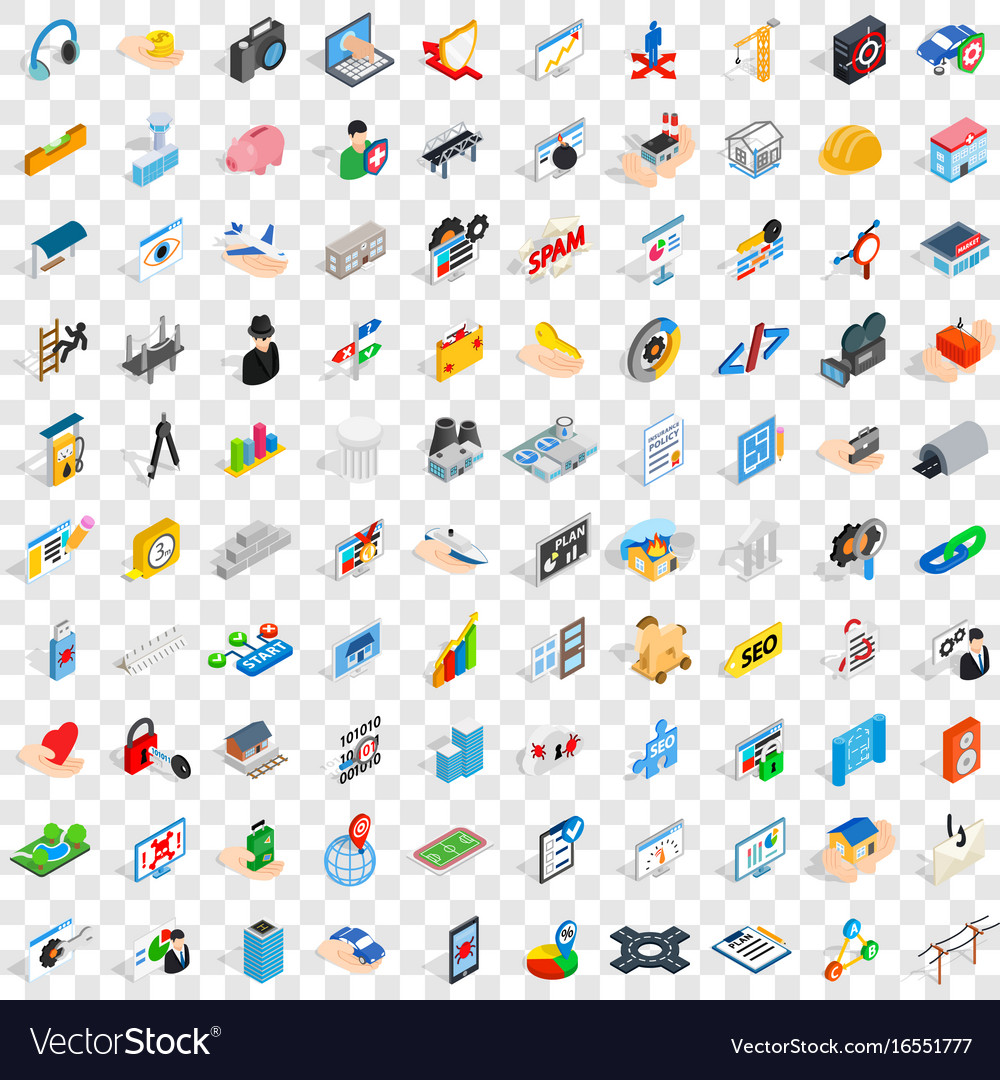 100 internet icons set isometric 3d style