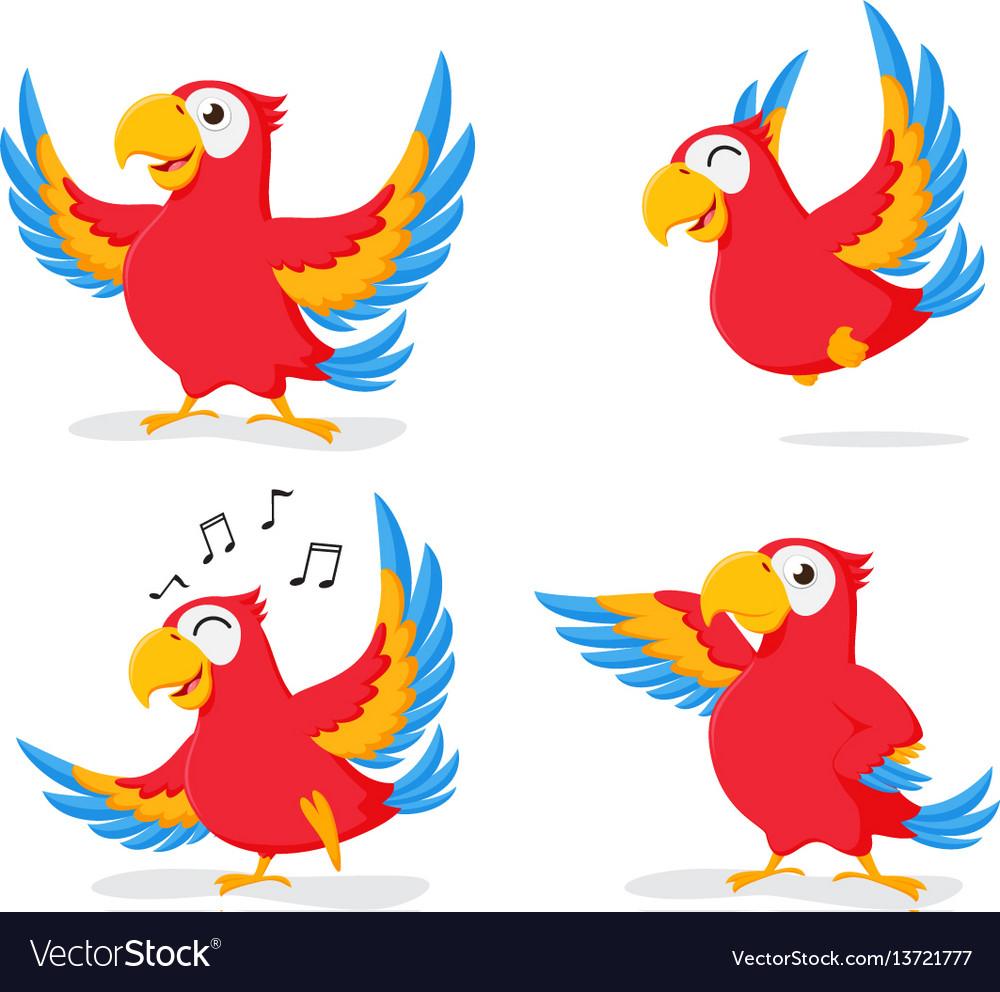 Cute parrot cartoon collection set vector image