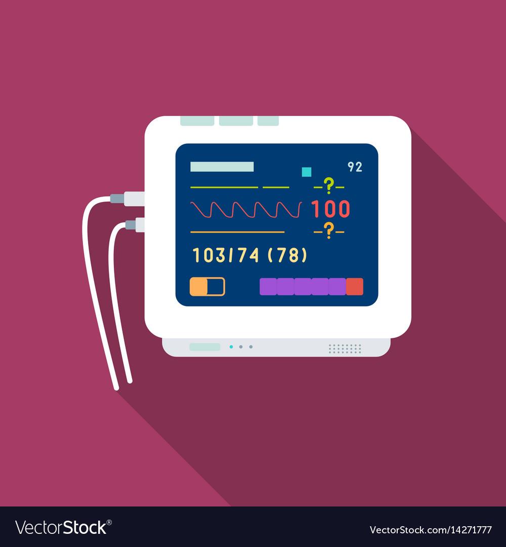 Ecg machine icon flat single medicine icon from vector image