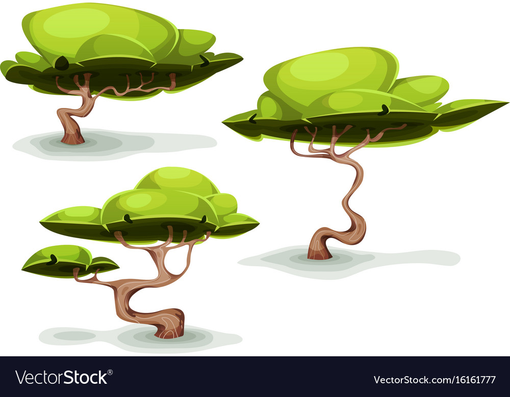 Funny weird trees for fantasy scenics vector image