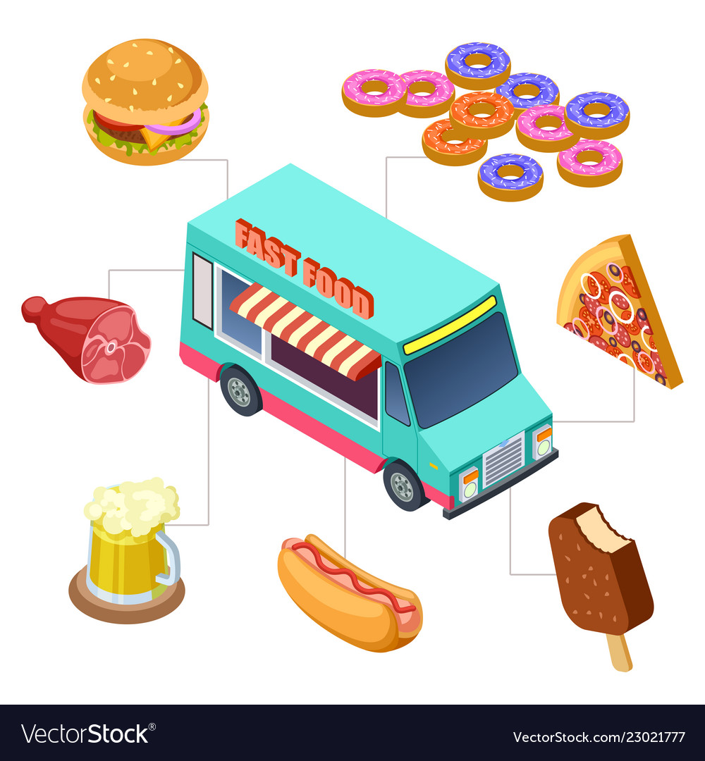 Isometric fast food truck burger donuts beer