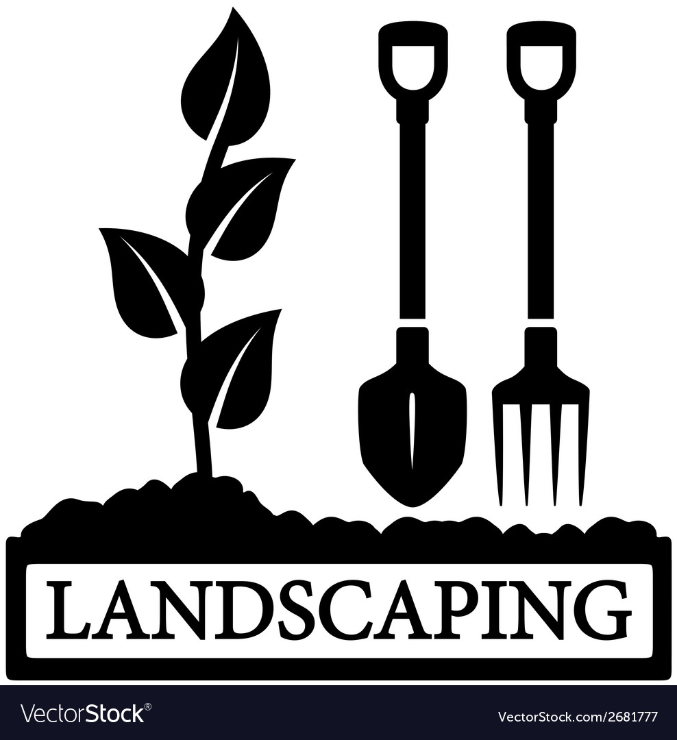 Landscaping icon with sprout and gardening tools vector image
